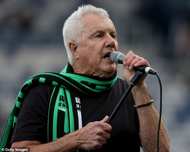 Singing out: Daryl Braithwaite took to the stage at the A-League soccer match in Geelong on Monday