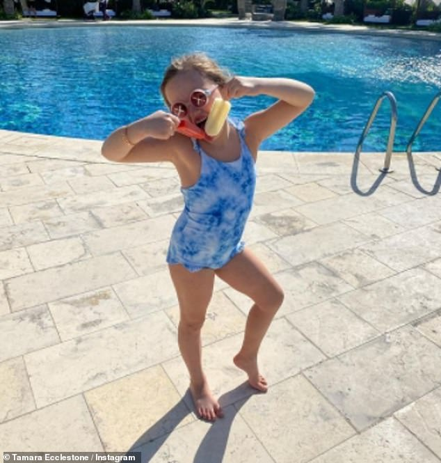 Holiday: Although they've kept their location a mystery, the family appear to have already landed in their idyllic location as Tamara also posted pictures from their sun-drenched festive getaway on Monday