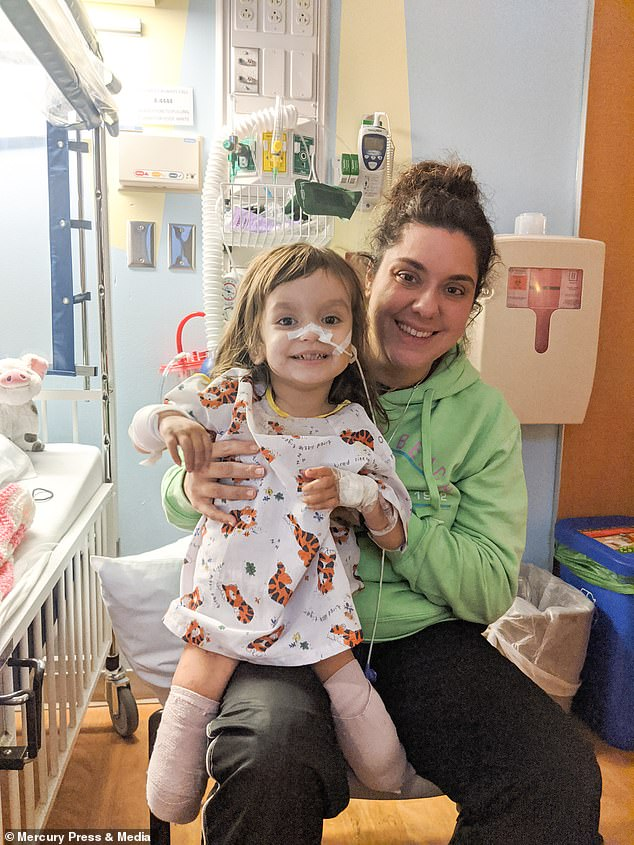Irisa Kelly, 27, from New York (pictured right)revealed how her daughter (pictured left) had to have both legs amputated after her flu-like symptoms turned out to be deadly meningitis
