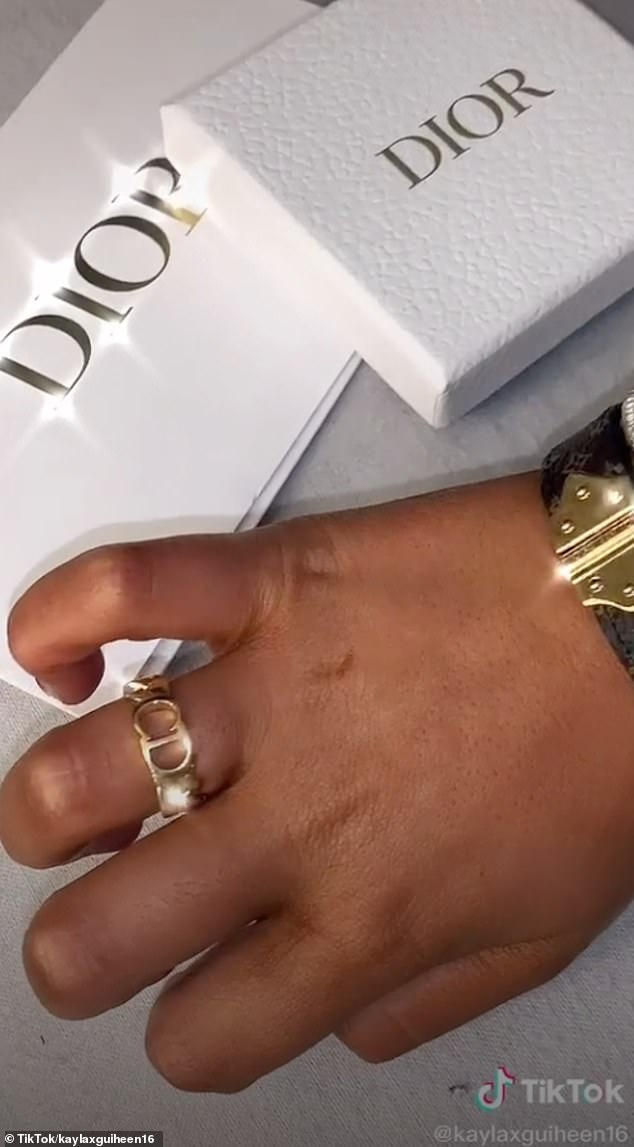 Christmas ker-ching! Irish user Kayla received this £230 Danseuse Étoile Ring by Dior from her boyfriend this Christmas...and promptly shared her festive fortune on TikTok