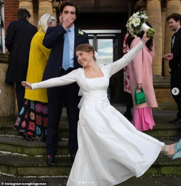 Coco wore a dress of her own design and a pair of blue high heels for her low-key nuptials to art dealer Alex on 20 December