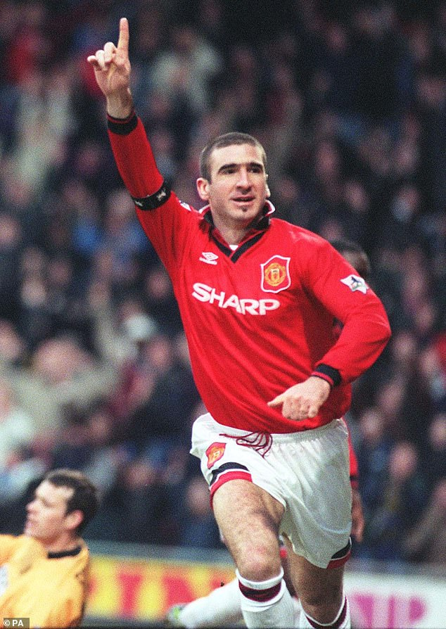 French wishes:  Jessie said that she had a great time with Cantona and admitted she wished she had been able to speak French to the retired France international (pictured in 1996)