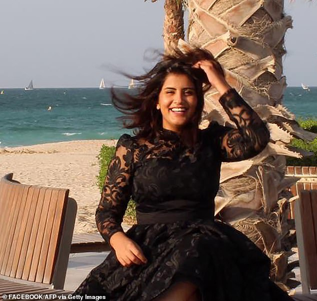 Al-Hathloul (pictured) was convicted by a terrorist court after being accused of spying and conspiring with foreign powers