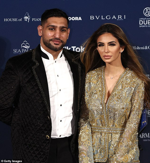 Glam:Just a week after the Chief Minister tested positive, Khan headed off to Dubai for the Globe Soccer Awards with wifeFaryal Makhdoom (pictured at the event on Sunday)