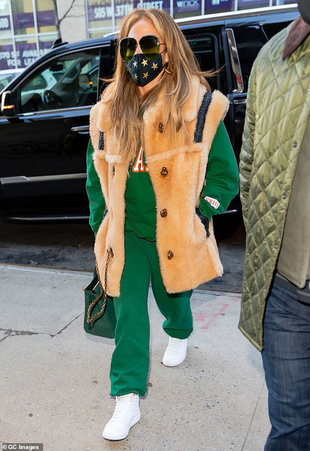 Always stunning: Jennifer Lopez looked sporty and chic while out in the Midtown, Manhattan part of New York on Monday