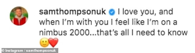 Gushing: Sam recently declared his love for on-again girlfriend Zara with a loved-up snap of them cuddling and a sweet caption as he took to Instagram
