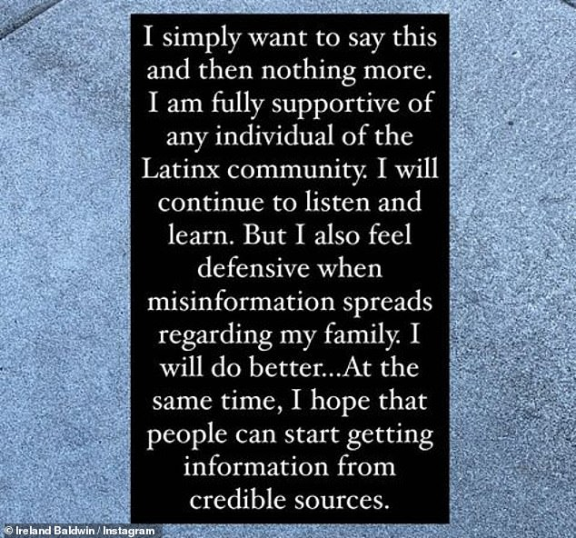 Time to reflect? On Monday, Ireland returned to social media to upload a further statement, this time declaring her support for the 'Latinx community' and insisting she will 'do better'