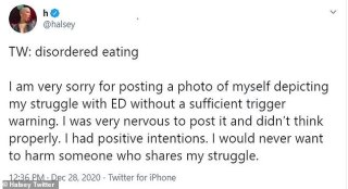 Halsey apologizes for sharing 'eating disorder' photo 'without a sufficient trigger warning'