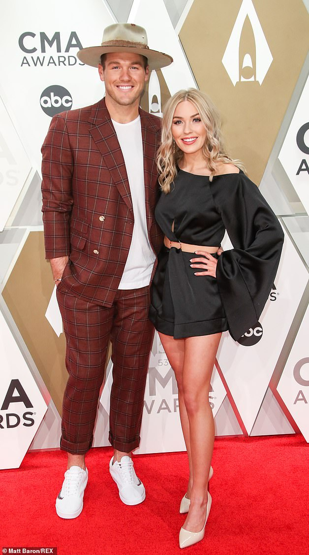 Bitter breakup: Cassie Randolph won Underwood's heart during season 23 of ABC's The Bachelor, which aired in early 2019. Following their split this past May, she accused him of harassment and requested a restraining order against him (they're pictured November 2019)