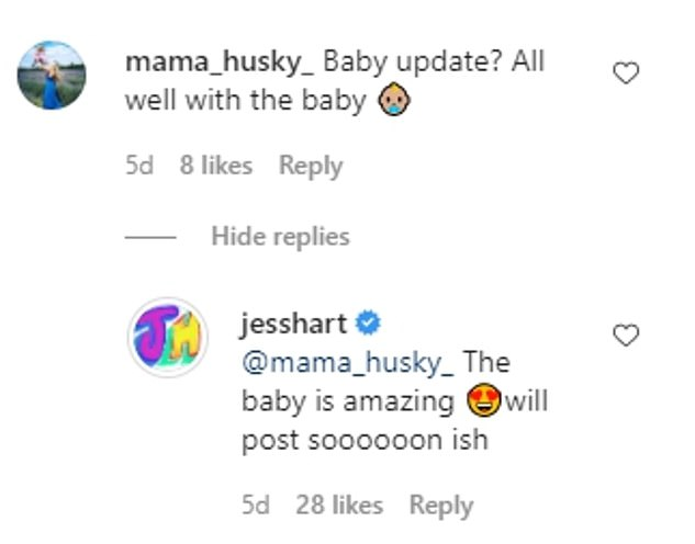 'The baby is amazing!' Jess also confirmed the birth of her first child on Instagram