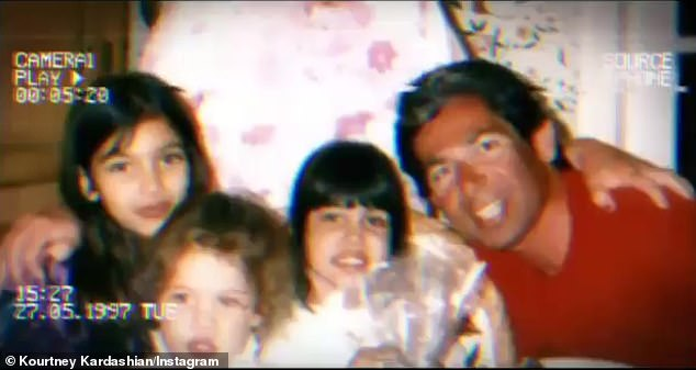 Missing him: Keeping Up with the Kardashians star Kourtney Kardashian (2-R) was feeling nostalgic about her late father Robert (R) on Monday night when she reposted a fan-made montage of home movies