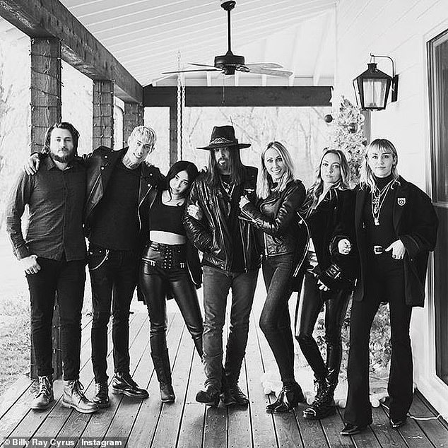 Blended family: Braison, Trace, Noah, Billy Ray, Tish, Brandi, and Miley pictured in 2019