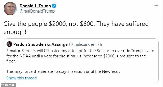 In apparent support of Senator Sanders, President Trump tweeted'Give the people $2000, not $600. They have suffered enough!'