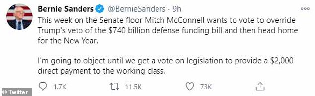 Sanders tweeted Monday his intention to hold up the Senate's vote to override Trump's veto of the$740 billion NDAA until a vote is held on increasing relief checks to Americans