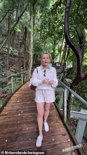 Memories: Tim, 38, shared a number of Instagram Story videos on Tuesday, showing himself and Anna, 34, (pictured) strolling on a bushwalk trail in the mountainous NSW region