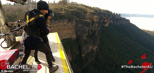 Long way down! They first fell in love on The Bachelor in 2013 while filming these scenes