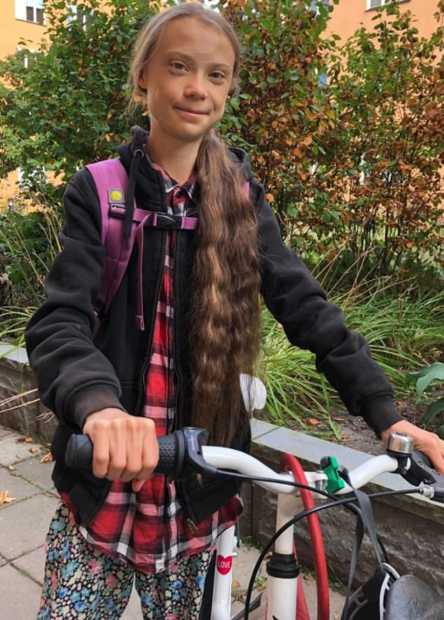 Teenage climate change campaigner Greta Thunberg shared a picture of herself as she celebrated being back at school following her gap year
