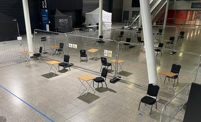 LONDON: Abandoned tables and chairs in the deserted ExCeL Centre, London, today amid reports that the Nightingale hospital is being dismantled