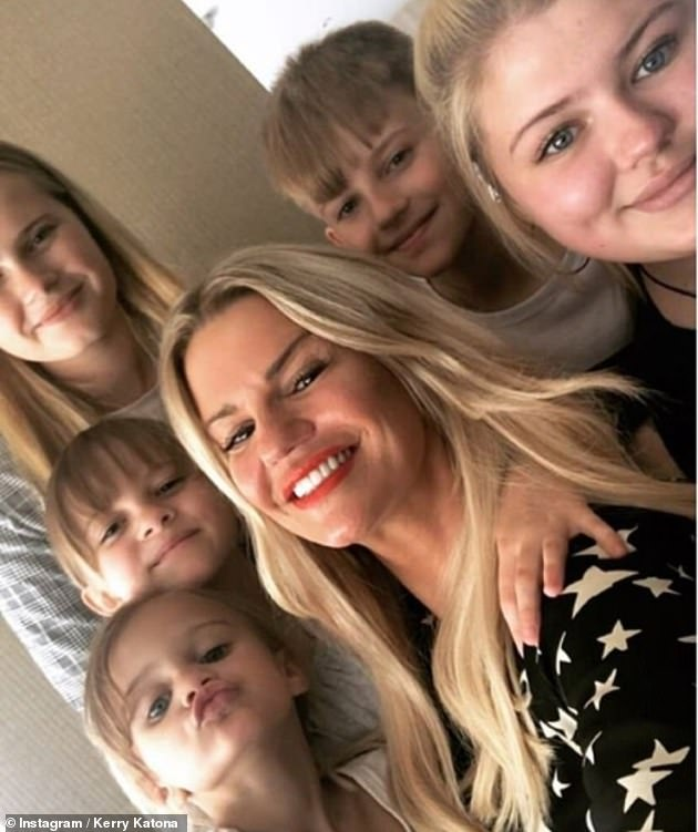 Family first: The fitness blogger is mother to children Molly, 18, Lilly-Sue, 17, Heidi, 13, Max, 12, and Dylan-Jorge, six, and it is not known whether they have contracted the virus