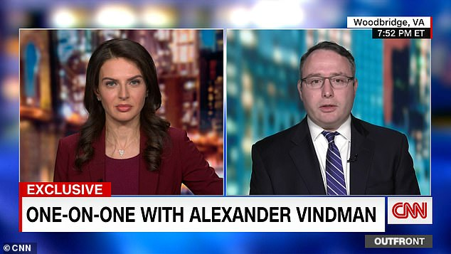 Impeachment witness Retired Lt. Col. Alexander Vindman (right) told CNN'sBianna Golodryga (left) that he had 'no regrets' for the role he played in 'expos[ing] corruption by the chief executive'