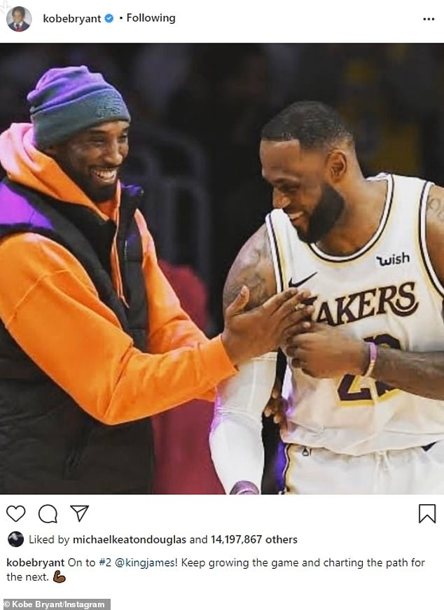 Number 10: The 10th most liked Instagram was from the late Kobe, made on January 25, 2020, the day before he died. He was seen on the basketball court in an image shared by LeBron. That one received 14,182,904 liked: 'On to #2 @kingjames! Keep growing the game and charting the path for the next'