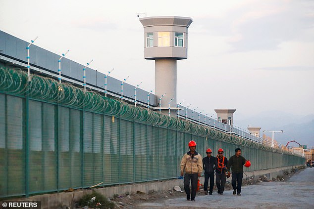 A company in Apple's iPhone supply chain has been accused of using Muslim Uighurs as forced labour in China (pictured, the perimeter fence of what is officially known as a 'vocational skills education centre' in Xinjiang, where human rights groups say up to a million Uighurs have been detained)