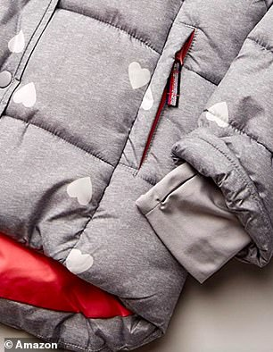 The coat is water-resistant and fleece-lined