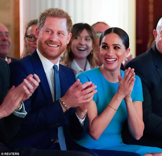 Prince Harry has dropped the Queen's English accent in favour of a more 'Estuary' twang, royal commentators have claimed. Pictured with Meghan Markle in March