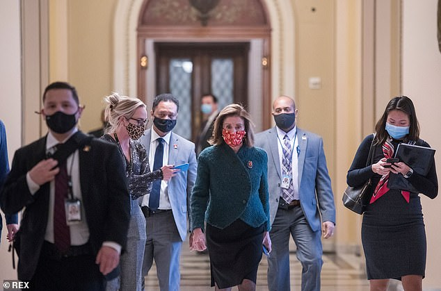 House Speaker Nancy Pelosi said Monday she isn't concerned about losing her leadership position in the caucus election January 3, claiming she has the reelection 'wrapped up'