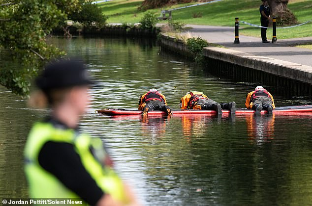 Police officers and divers at the scene in Riverside Park in Southampton, Hampshire in September 2019