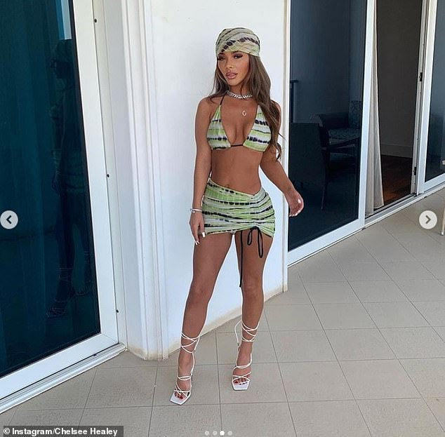 Toned:Chelsee set pulses racing as she donned a skimpy bikini for a sizzling snap during her holiday on Monday