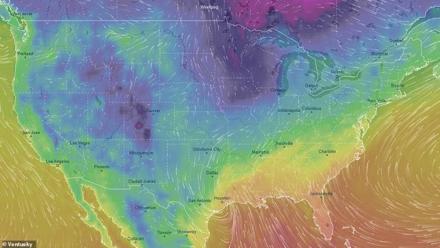 Storm temperature and wind direction predictions across the US on New Year's Day