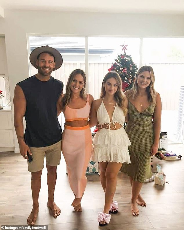 Getting serious:Emily shared a series of photos of the couple celebrating the festive season at her family home in Sydney's South Western Suburbs