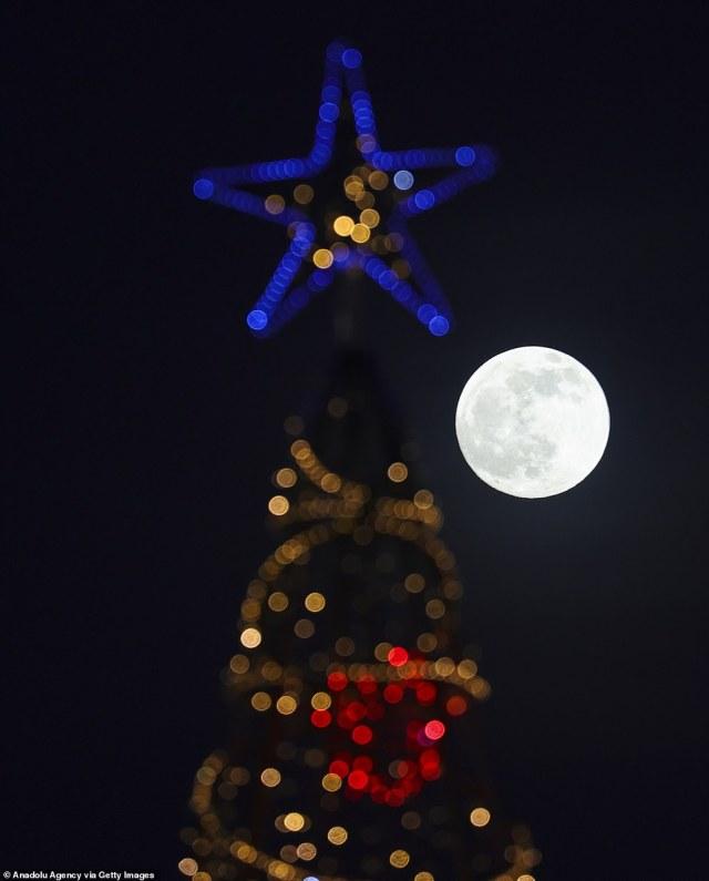 The full moon is seen in Ankara, Turkey behind a Christmas tree on Tuesday night