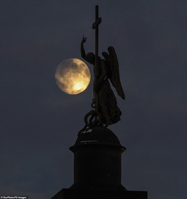 The 'Cold Moon' will rose out of the northeastern with peak illumination at 10:30pm ET (3:30am GMT) on Tuesday evening. Pictured is how the full moon appeared in St. Petersburg, Russia