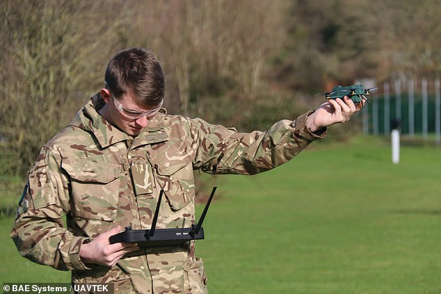 Autonomous flying 'bug drones' that can spy on enemies more than a mile away and operate in strong winds of up to 50mph are being tested by the British Army