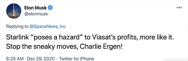 However, SpaceX's CEO Elon Musk caught wind of the petition and did what most billionaires do – he took to Twitter. Musk shared a tweet on his page saying: 'Starlink 'poses a hazard' to Viasat's profits, more like it'