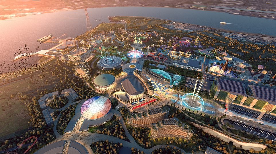 A new rendering of The London Resort has been released. The park, which has been dubbed 'Britain's Disneyland', has claimed that it will generate £50billion for the UK economy during its first 25 years of operation