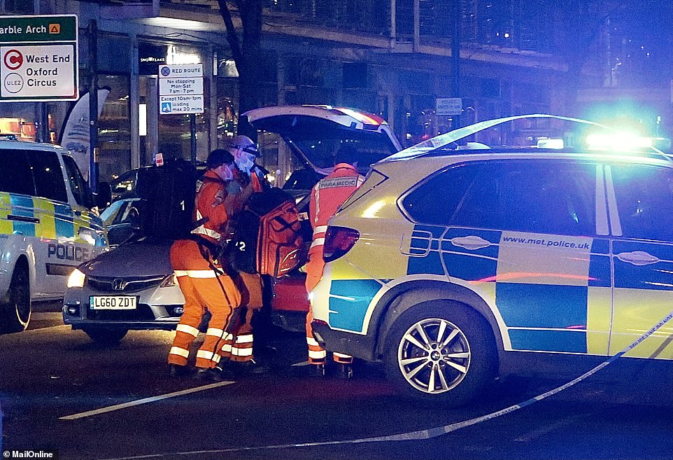London Ambulance Service paramedics rushed two men and one woman to hospital after they suffered stab wounds and a head injury in Edgware Road