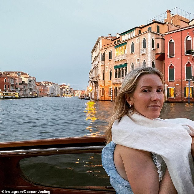 Stunning: Ellie's husband captured a golden hour shot of her on a boat during a recent trip