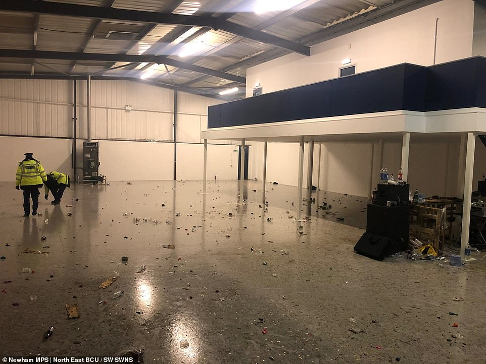 Balloons - potentially used for inhaling nitrous oxide - littered the floor of the abandoned warehouse in East London today