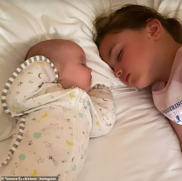 Adorable:Taking to Instagram, the Formula One heiress, 36,also posted a sweet photo of sisters Sophia and Serena asleep next to each other in bed