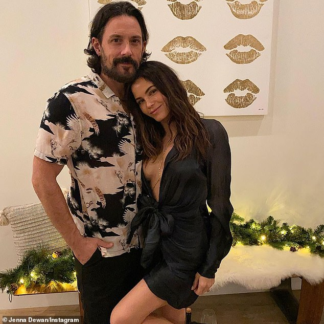 New Year's Eve: Jenna Dewan showcased her sensational figure in a plunging party dress, nine months after welcoming her son Callum Michael Rebel with fiancé Steve Kazee in March