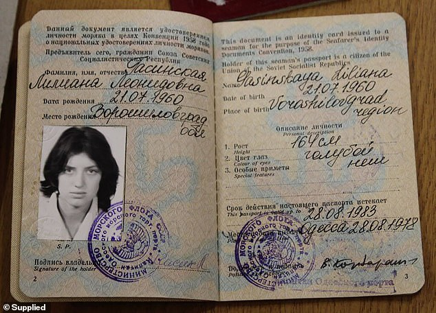 Soviet investigator Nikolai Shumilo analysed Gasinskaya's press conference in Australia and concluded that she had been coached 'by the secret services or an anti-Soviet organisation', but he also noted that she had no access to state secrets. Pictured is her sailor's passport