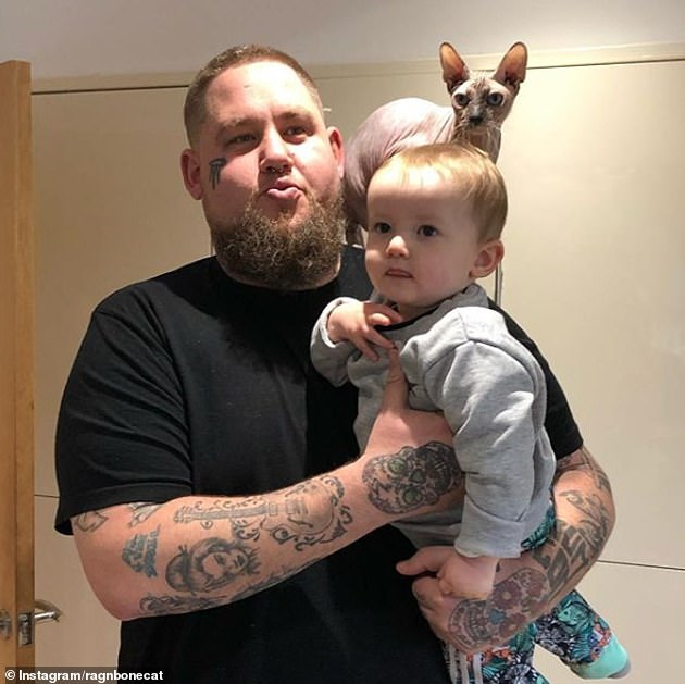 Proud parents:Last November, the hitmaker and his ex wife Beth Rouy called it quits on their marriage just six months after tying the knot in East Sussex, they share son Reuben (pictured)