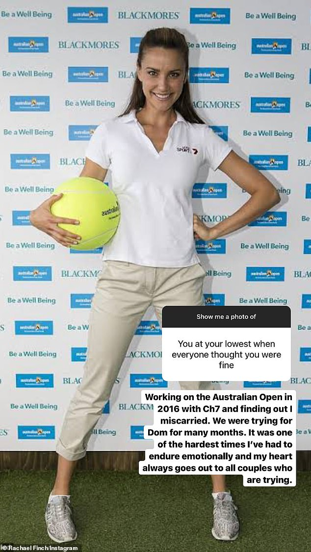 Candid revelation online: Rachael shared the heartbreaking news alongside a photo of herself at the Australian Open in 2016 (pictured), after being asked by a fan to share when she was at her lowest point and 'everyone thought she was fine'