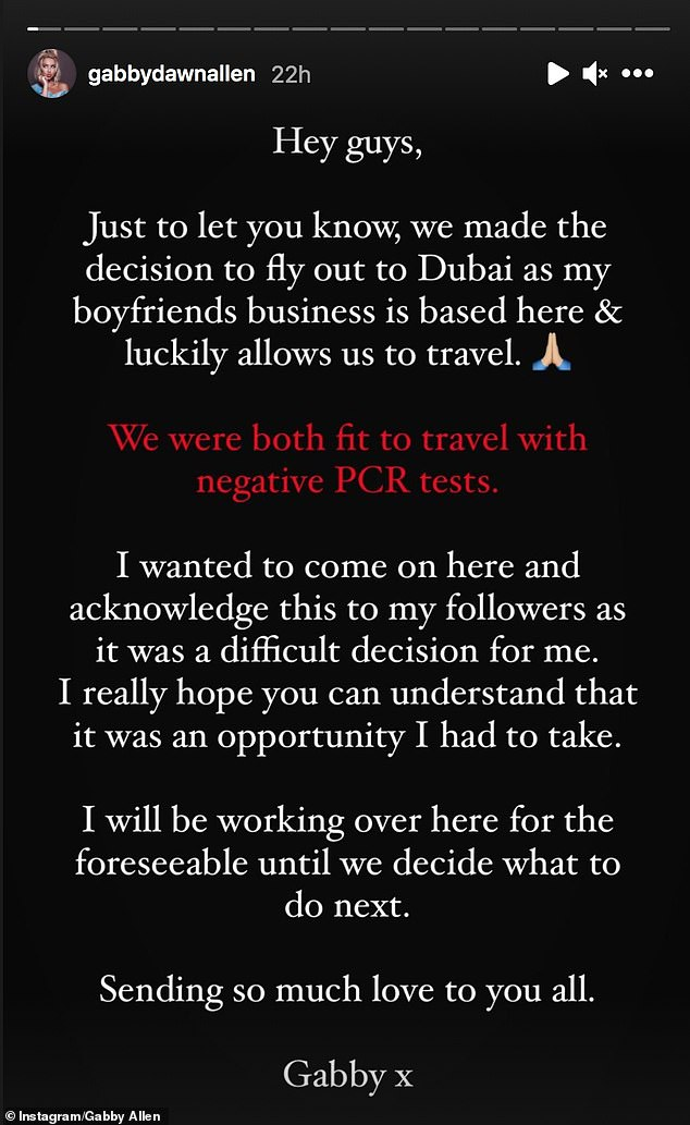 'It was a difficult decision for me': The Love Island star recently explained that she and her beau flew out to the UAE after receiving 'negative PCR tests' and being 'both fit to travel'