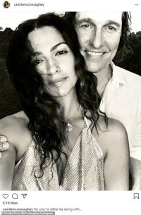 Camila Alves takes the plunge in glittering gown as she cuddles up to Matthew McConaughey