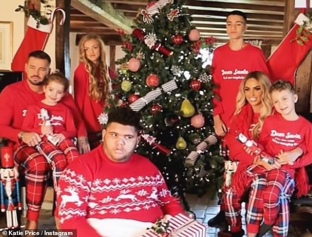 Family: Katie is already mother to Harvey, 18, Junior, 15, Princess, 13, Jett, seven, and Bunny, six, from three previous relationships. Pictured with her brood over the Christmas holiday