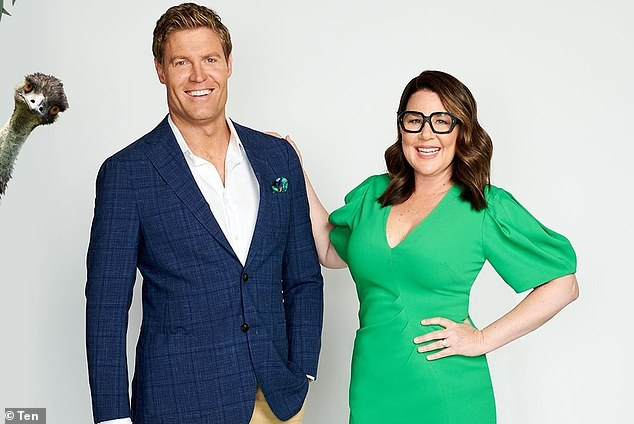 A Gold Logie winner, former pop star, comedian and radio host: I'm A Celebrity... finally revealed its star lineup on Sunday's premiere after weeks of cryptic clues. Pictured: hosts Dr. Chris Brown and Julia Morris